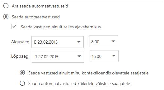 Outlooki veebirakenduse automaatvastuste aja määramine