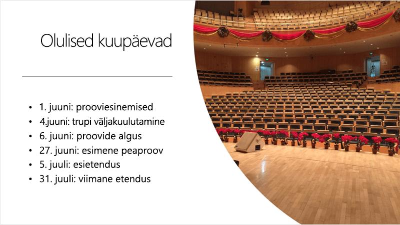 Näidisslaidil kuvatakse teksti ajaskaala ja foto, mille paigutuse on korraldanud PowerPointi kujundusriist