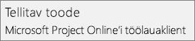 Kuvatõmmis nimest Tellitav toode: Microsoft Project Online'i töölauaklient, nagu see kuvatakse projekti jaotises Fail > Konto.