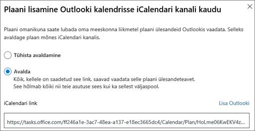 Kuvatõmmis Outlooki kalendri dialoogiboksis Lisa leping
