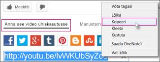 URL-i kopeerimine