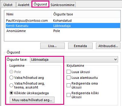 Outlook 2013 menüü Kalendri ühiskasutusõigused