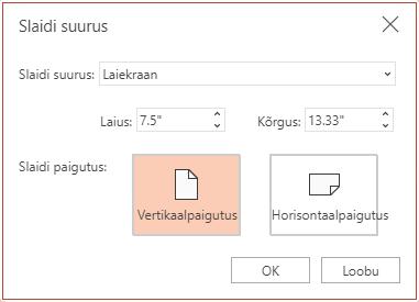 """Dialoogiboksis """"Slaidi suurus"""" saate valida standardsete ja laiekraani proportsioonide vahel ning horisontaal- ja vertikaalpaigutuse vahel."""