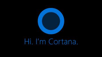 """Cortana ikooni, nagu on näha ekraanil, mis ütleb """"Tere. Ma olen Cortana""""all olevat ikooni."""