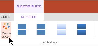 SmartArt-riistad, valige Muuda värve värvi Galerii avamine