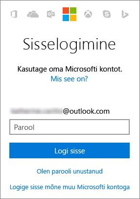 Kuvatõmmis, millel on kujutatud Microsofti konto sisselogimiskuva
