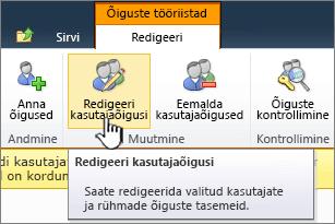 Kasutajaõiguste redigeerimine