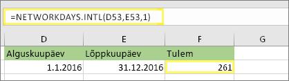 =NETWORKDAYS.INTL(D53,E53,1) ja tulem: 261