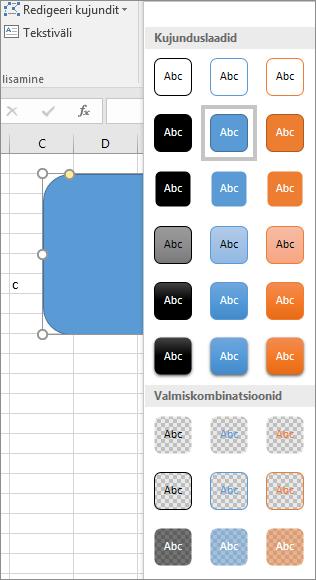 Kujundite laadigalerii, kus on näha Windowsi rakenduse Excel 2016 uued eelmääratud laadid