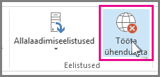 Outlook 2013 nupp Tööta ühenduseta