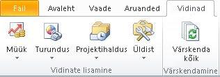 Lindi menüü Vidinad koos vidinate Müük, Turundus, Projektihaldus ja Üldist nuppudega. Näha on ka nupp Värskenda kõik.