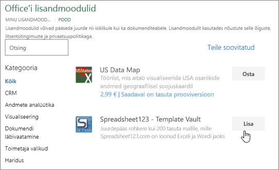 """Kuvatõmmisel on kujutatud leht """"Office'i lisandmoodulid"""", kus saab valida või otsida Exceli jaoks lisandmoodulit."""