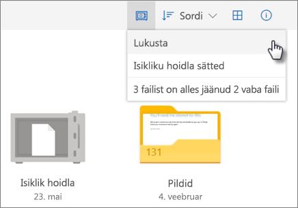 Kuvatõmmis OneDrive'i isikliku hoidla lukustamisest
