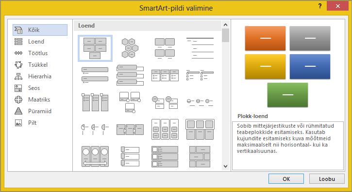 """Dialoogiboksi """"SmartArt-pildi valimine"""" valikud"""