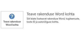 Kui Office on installitud Microsoft Installeri tehnoloogia abil, näeb rakenduse ja värskendustega seotud teabe jaotis välja selline.