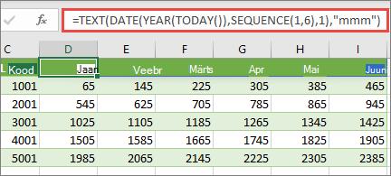 Exceli tööleht funktsiooniga SEQUENCE