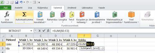 Automaatsumma funktsiooni kasutamine andmerea kiireks kokkuliitmiseks