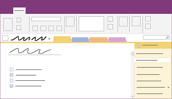 Kuvatud on OneNote'i Windowsi töölauarakenduse aken