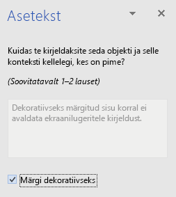 Rakenduse Word Win32 dekoratiivsete elementide aseteksti paan