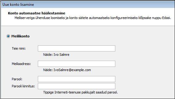 Rakenduses Outlook 2010 nimede ja meiliaadresside lisamine