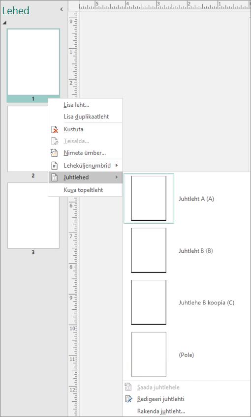 Screenshot kuvab juhtlehe suvandid, mis on valitud juhtlehtede jaoks, mis on saadaval.