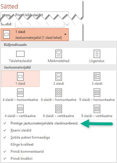 Printige jaotusmaterjalidele slaidinumbreid.