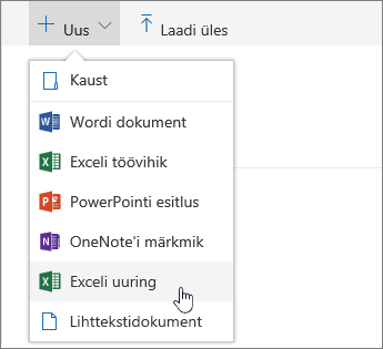 Menüü Uus, Exceli käsk Küsitlus