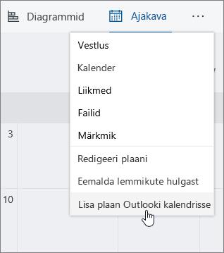 Kuvatõmmis, Plaanur menüü Lisa plaan Outlooki kalender on valitud.