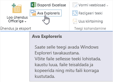 "SharePoint 2016 käsk ""Ava Exploreris"" opsüsteemis IE11"