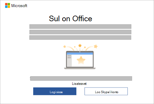 Kuvatakse dialoogiboks, mis kuvatakse, kui avate Office'i rakenduse uues seadmes, mis sisaldab Office'i litsentsi.