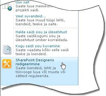 SharePoint Designer 2010 menüüs Saiditoimingud