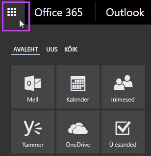 Office 365 rakendusekäiviti, kus kuvatakse rakenduste Meil, Kalender, Inimesed, Yammer ja OneDrive paanid