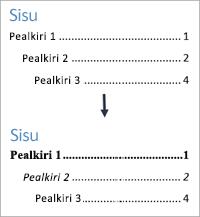Kuvab, kuidas näeb sisukord välja enne ja pärast teksti laadide vormindamist