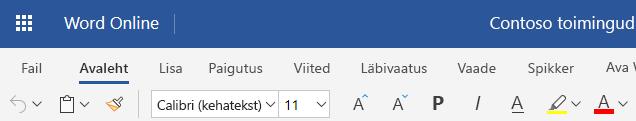 Lihtsustatud lindi Word Web Appis