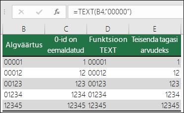 """Näited algusnullide vormindamise kohta funktsiooni TEXT abil.  =TEXT(A2,""""00000"""")"""