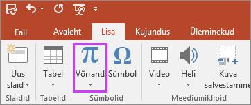 Kuvab PowerPointi lindi nupu Lisa võrrandid