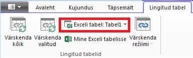 Lingitud Exceli tabelile viitav menüünupp