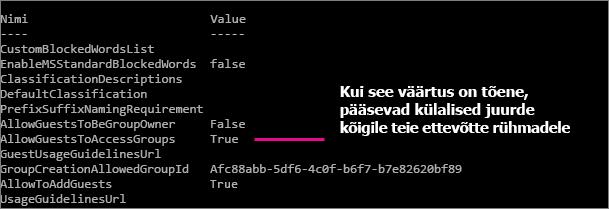 AllowGuestsToAccessGroups (luba külalisjuurdepääs) väärtus peab olema True (tõene).