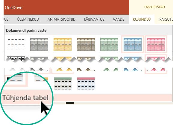Tabelilaadi eemaldamiseks, kasutades käsku Tühjenda tabel.