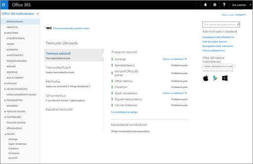 Näide sellest, kuidas näeb välja Office 365 halduskeskus, kui teil on Skype'i ärirakenduse veebiväljaande leping.