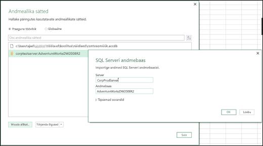 Exceli Power BI – andmeallika sätete täiendused