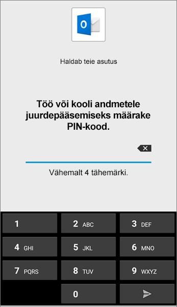 Android-seadme Outlooki rakenduse PIN-koodi määramine