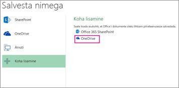 OneDrive'ile salvestamise suvand