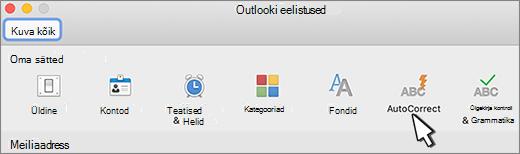 Outlook for Mac nuppu Automaatkorrektuur