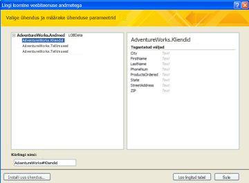 Linkimiseks saadaolev veebiteenuse andmeühendus