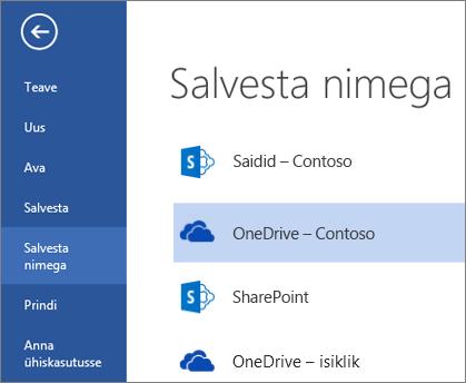 OneDrive for Business kaust faili avamise või salvestamise ajal