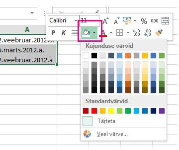 Paremklõpsake lahtritele täitevärvi lisamiseks