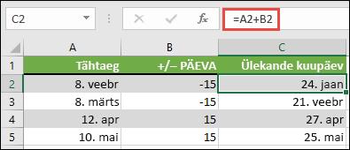 Liitmine või kuupäevast päevade lahutamine koos = A2 + B2, kus A2 on kuupäev ja B2 on päevade liitmine või lahutamine arv.