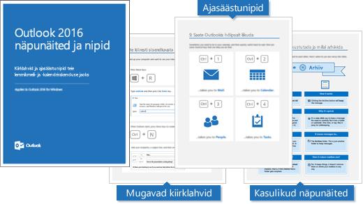 Outlook 2016 näpunäidete ja nippide e-raamatu kaas; lehtedel on kuvatud mõned näpunäited