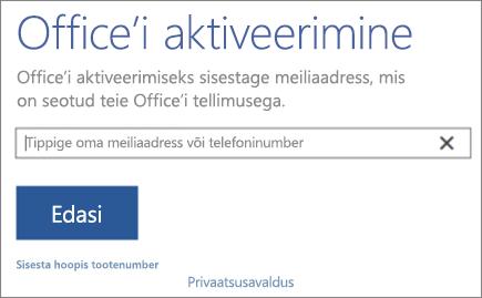 Kuvab Office'i aktiveerimise akna
